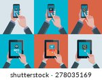 hands holding touchscreen smart ... | Shutterstock .eps vector #278035169