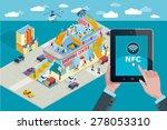 hands holding touchscreen smart ... | Shutterstock .eps vector #278053310