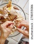 shredded chicken for the... | Shutterstock . vector #278055086