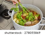 add parsley to the cooking in... | Shutterstock . vector #278055869