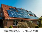 solar panel on a red roof  | Shutterstock . vector #278061698