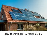solar panel on a red roof  | Shutterstock . vector #278061716