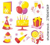 a retro birthday party icons... | Shutterstock .eps vector #278069369