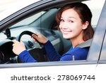 happy female driver smiling to... | Shutterstock . vector #278069744