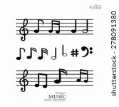 vector icons set music note.... | Shutterstock .eps vector #278091380