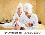 women wearing bathrobes... | Shutterstock . vector #278101190