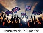 Group Of People Waving Uk Flags ...