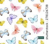 Stock vector watercolor vector pattern with beautiful butterflies seamless wallpaper 278126738
