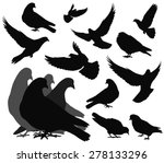 doves silhouettes collection. ... | Shutterstock .eps vector #278133296