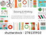 sewing and knitting on white... | Shutterstock . vector #278135933