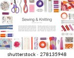 sewing and knitting on white... | Shutterstock . vector #278135948
