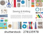 sewing and knitting on white... | Shutterstock . vector #278135978