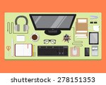 creative office workspace with... | Shutterstock .eps vector #278151353
