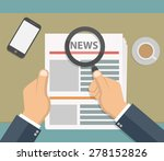 hand holding newspaper and... | Shutterstock .eps vector #278152826