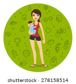 cartoon fit mom in sporty... | Shutterstock .eps vector #278158514