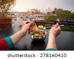 woman eating traditional indian ... | Shutterstock . vector #278160410