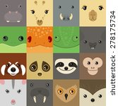 Set Of Colorful Simple Animal...