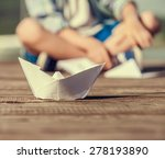 Close Up Image Paper Ship On...
