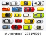Stock photo overhead view on colorful car toys 278195099