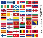 Set Of Flags Of All European...