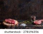 raw meat steak on dark wooden... | Shutterstock . vector #278196356