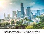 Sunny Day in Seattle. Seattle, Washington, United States. Seattle Cityscape. - stock photo