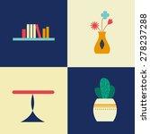 room  icons  shelf  books ... | Shutterstock .eps vector #278237288