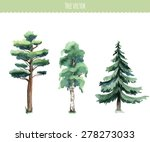 set of watercolor trees. birch  ... | Shutterstock .eps vector #278273033