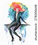 watercolor fashion illustration ... | Shutterstock . vector #278300648