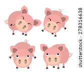 four cute cartoon pigs. vector... | Shutterstock .eps vector #278316638