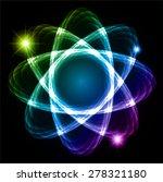 green blue purple shining atom...   Shutterstock .eps vector #278321180