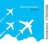 plane fly on blue cloud sky... | Shutterstock .eps vector #278349686