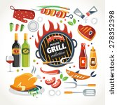 cooking grill objects collection | Shutterstock .eps vector #278352398