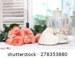beautiful bouquet of peach... | Shutterstock . vector #278353880