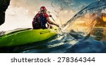 young lady paddling hard the... | Shutterstock . vector #278364344