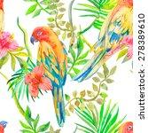 parrot seamless pattern.... | Shutterstock .eps vector #278389610
