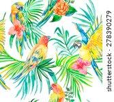 tropical parrot seamless... | Shutterstock .eps vector #278390279