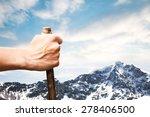 man holding wood stick raising... | Shutterstock . vector #278406500