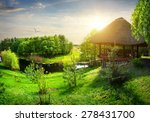 Wooden Arbour With Thatched...