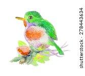 little bird with flowers.... | Shutterstock .eps vector #278443634