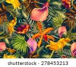 seamless tropical flower  plant ... | Shutterstock . vector #278453213