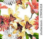 art vintage watercolor floral... | Shutterstock . vector #278456318