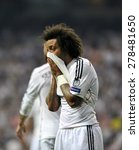 Small photo of MADRID, SPAIN - May 13th, 2015 : dejected MARCELO VIEIRA of REAL MADRID after defeat during Europe Champions League match vs JUVENTUS at Santiago Bernabeu Stadium