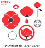 poppy. icon set. isolated... | Shutterstock .eps vector #278482784