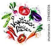 frame of vegetables watercolor | Shutterstock .eps vector #278483036