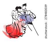 art sketched tango dancers  | Shutterstock .eps vector #278483039