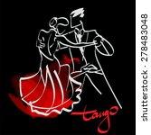 art sketched tango dancers    Shutterstock .eps vector #278483048