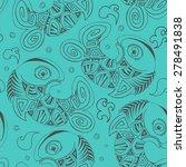 hand drawn seamless fish... | Shutterstock . vector #278491838