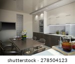 3d illustration of a  kitchen... | Shutterstock . vector #278504123