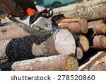 lumberjack worker with chainsaw ... | Shutterstock . vector #278520860